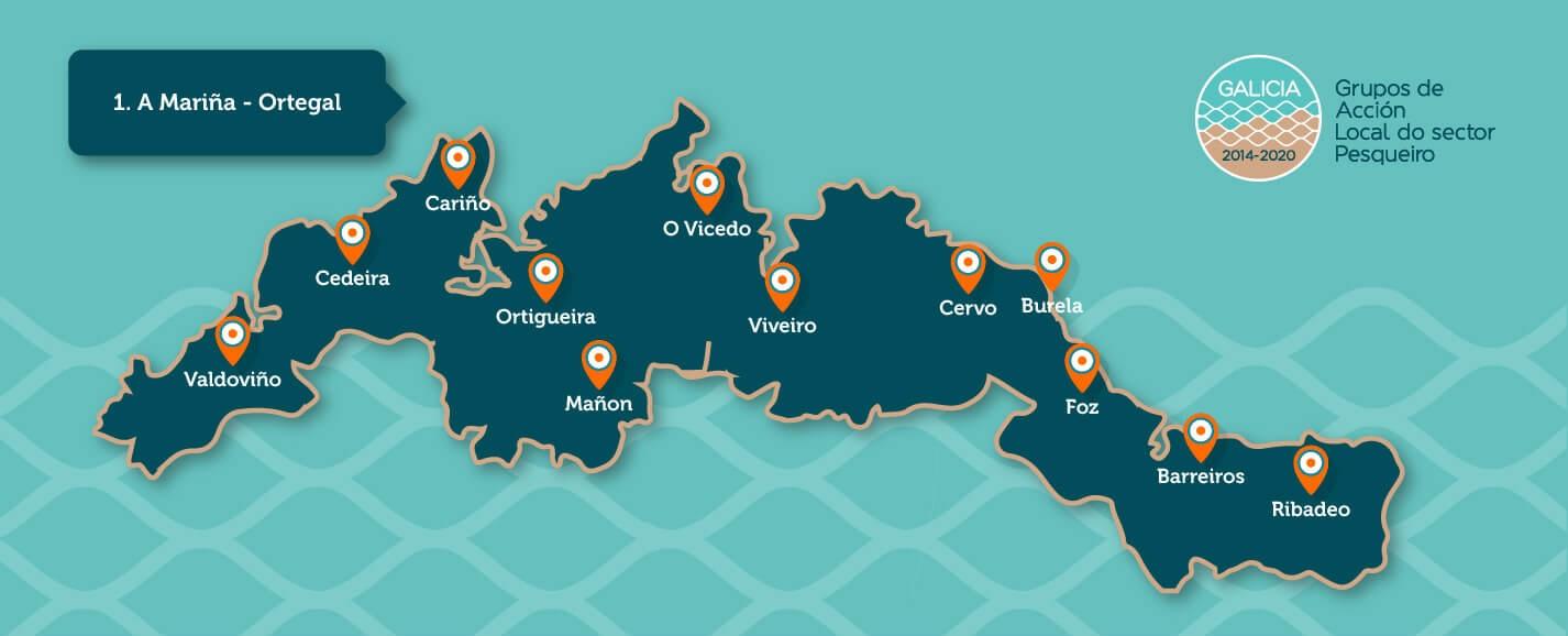 Mapa do GALP A Mariña - Ortegal